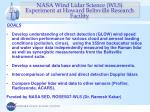 nasa wind lidar science wls experiment at howard beltsville research facility