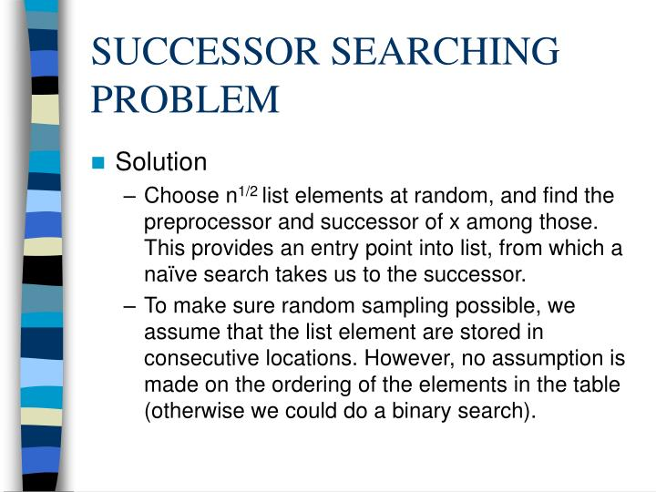 SUCCESSOR SEARCHING PROBLEM