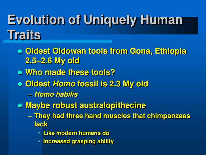 evolution of modern humans Modern humans have large and globular brains that distinguish them from their extinct homo relatives the characteristic globularity develops during a prenatal and early postnatal period of rapid brain growth critical for neural wiring and cognitive development.