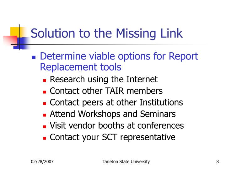 Solution to the Missing Link