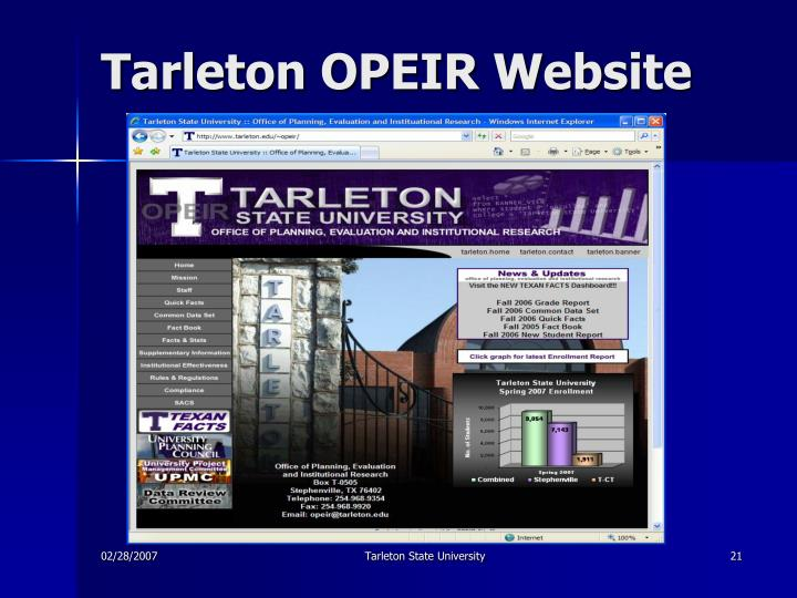 Tarleton OPEIR Website