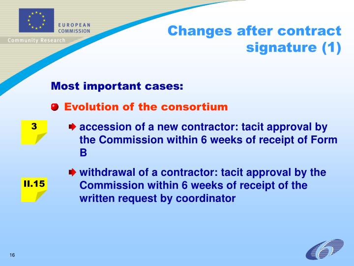 Changes after contract signature (1)