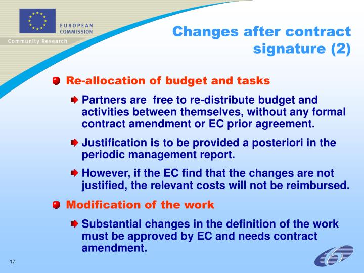 Changes after contract signature (2)