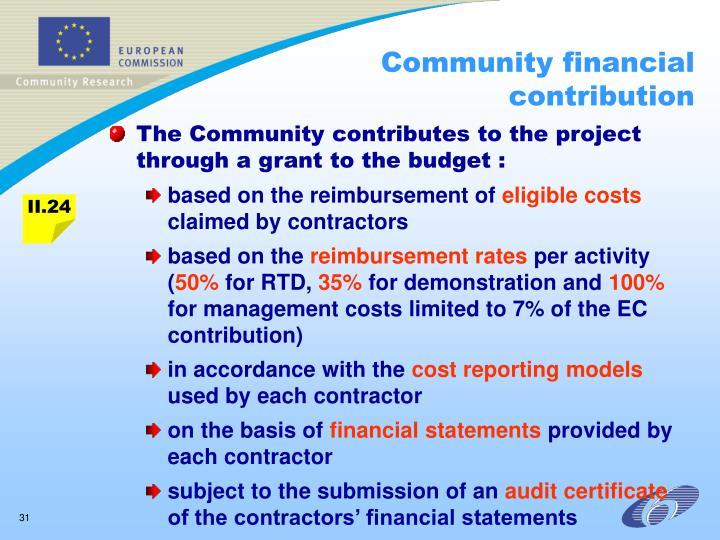 Community financial contribution