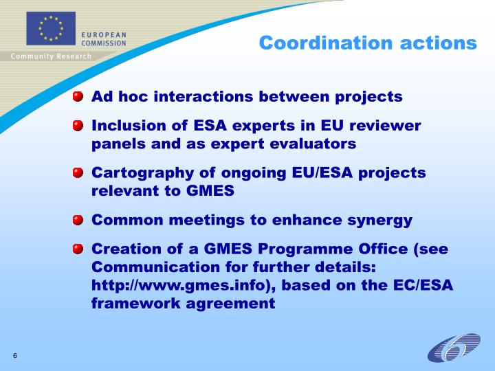 Coordination actions