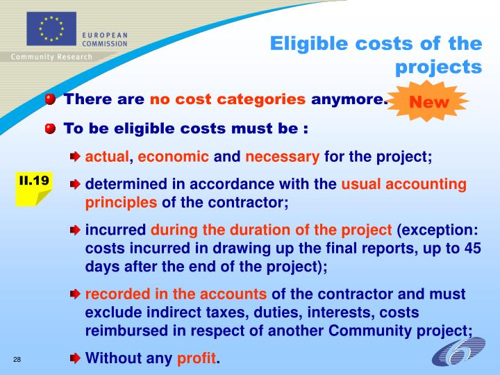 Eligible costs of the projects