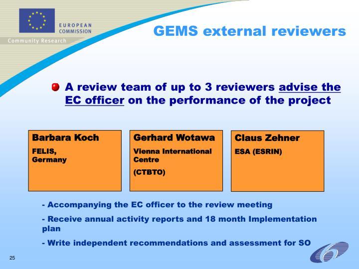 GEMS external reviewers