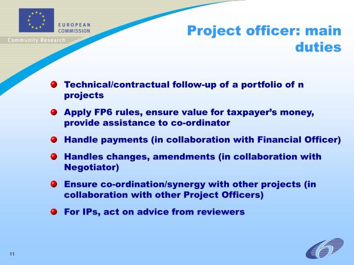 Project officer: main duties