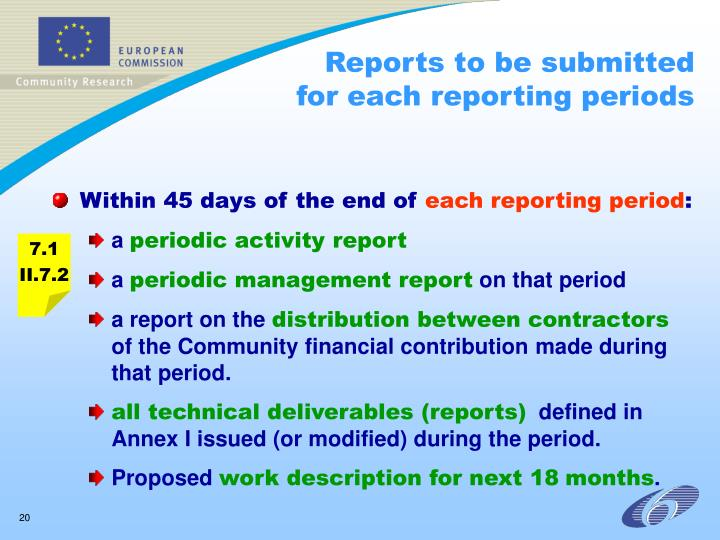 Reports to be submitted for each reporting periods