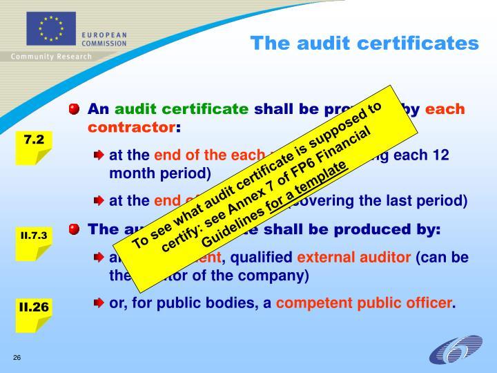 The audit certificates