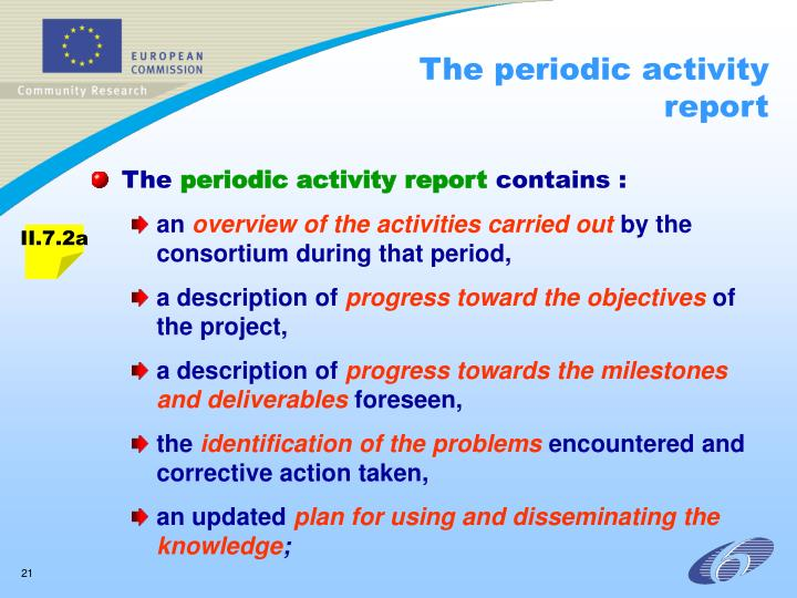 The periodic activity report