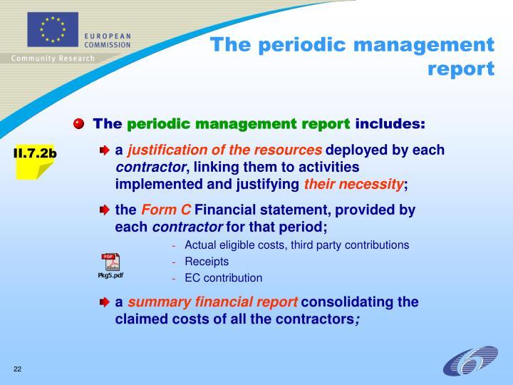 The periodic management report