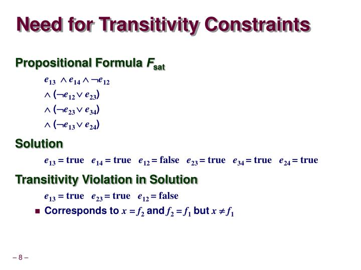 Need for Transitivity Constraints