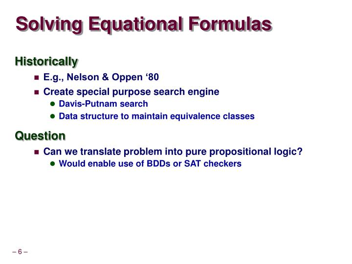 Solving Equational Formulas