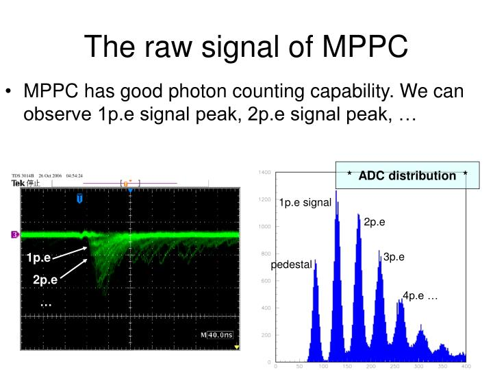 The raw signal of MPPC