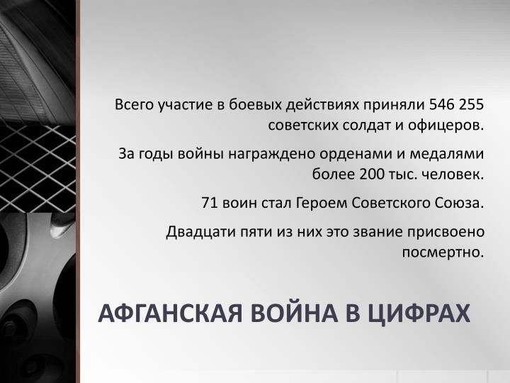 Всего участие в боевых действиях приняли 546 255 советских солдат и офицеров.