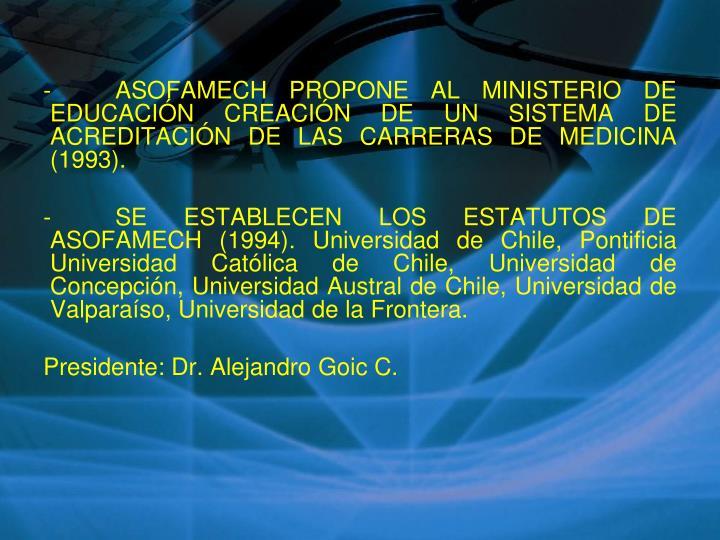 -ASOFAMECH PROPONE AL MINISTERIO DE EDUCACIÓN CREACIÓN DE UN SISTEMA DE ACREDITACIÓN DE LAS CARRERAS DE MEDICINA (1993).