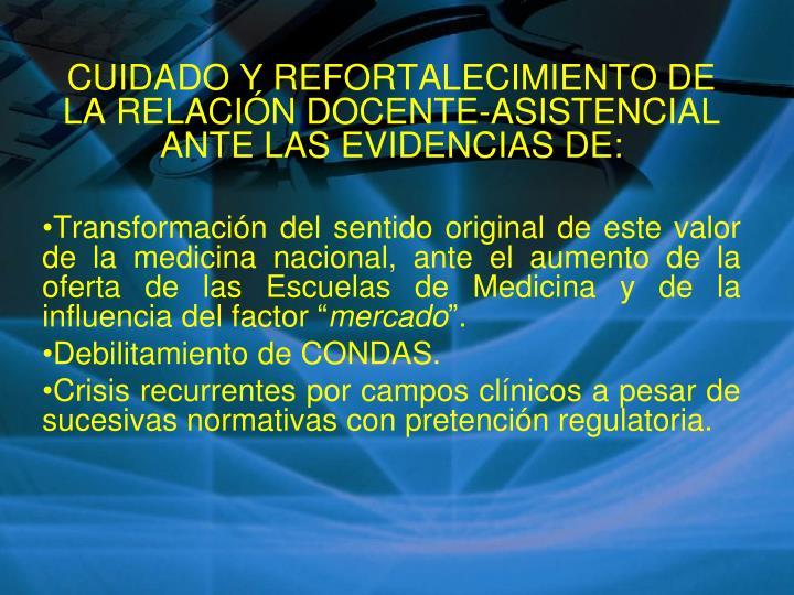 CUIDADO Y REFORTALECIMIENTO DE LA RELACIÓN DOCENTE-ASISTENCIAL ANTE LAS EVIDENCIAS DE: