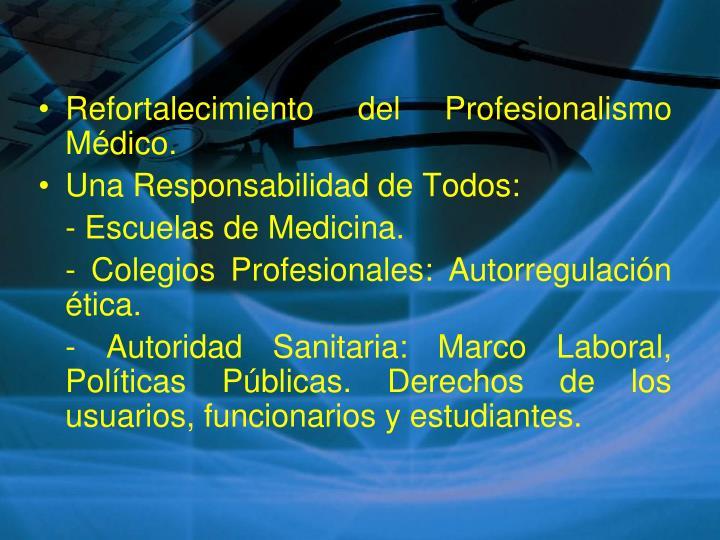 Refortalecimiento del Profesionalismo Médico.