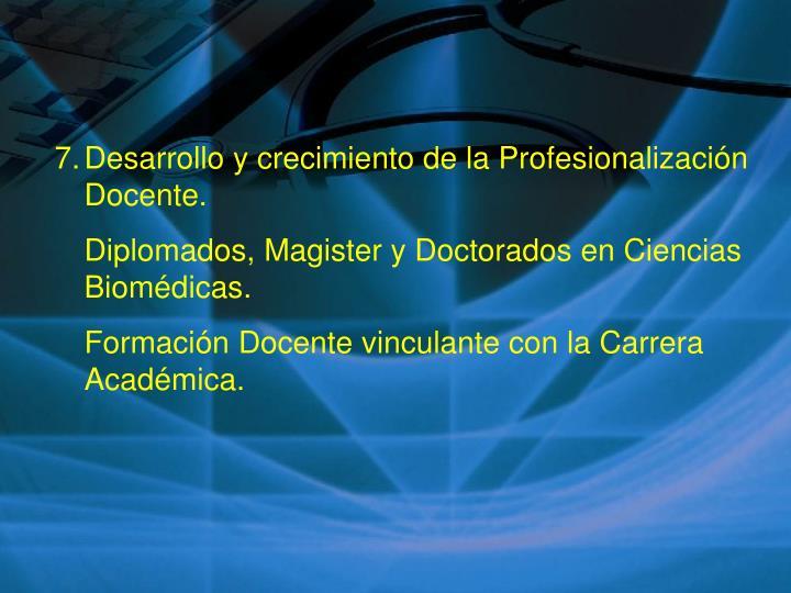 Desarrollo y crecimiento de la Profesionalización Docente.