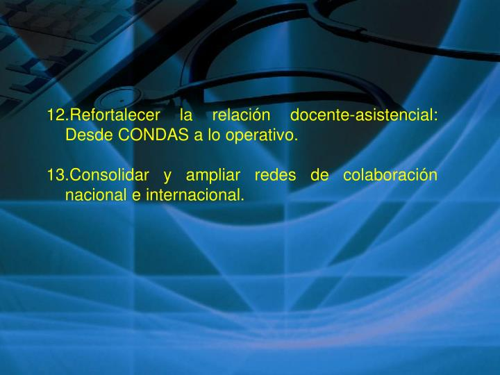 12.Refortalecer la relación docente-asistencial: Desde CONDAS a lo operativo.