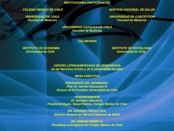 INSTITUCIONES PARTICIPANTES