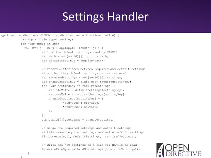Settings Handler