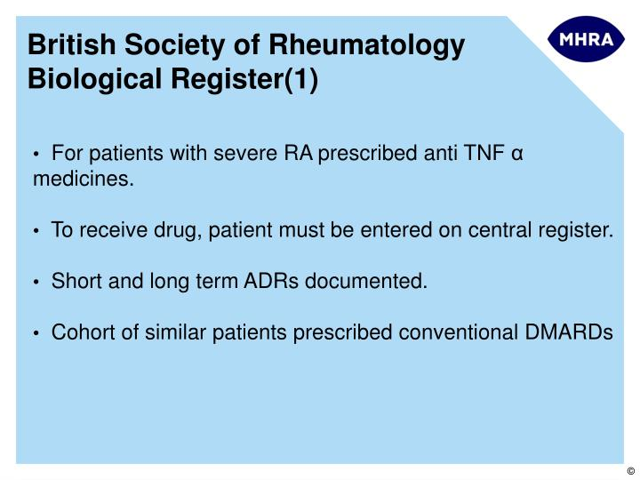 British Society of Rheumatology Biological Register(1)