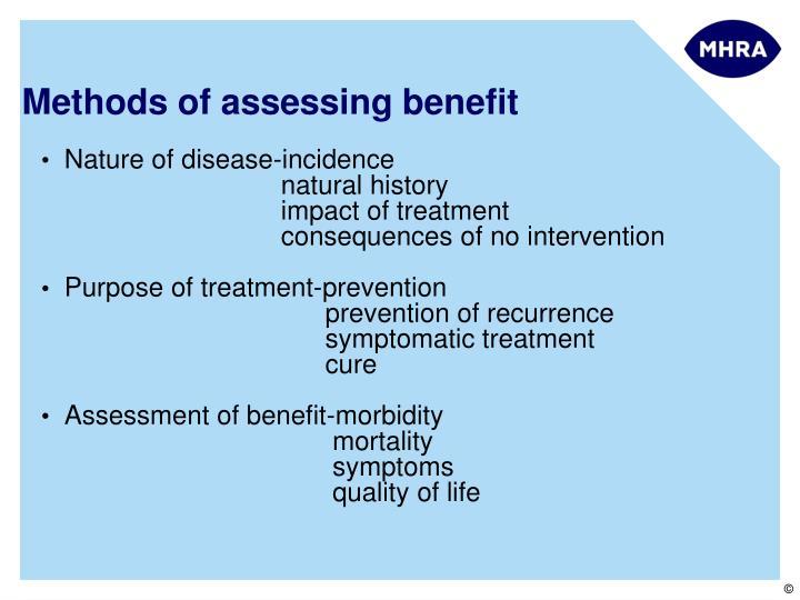 Methods of assessing benefit
