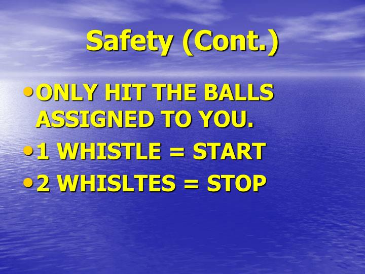 Safety (Cont.)