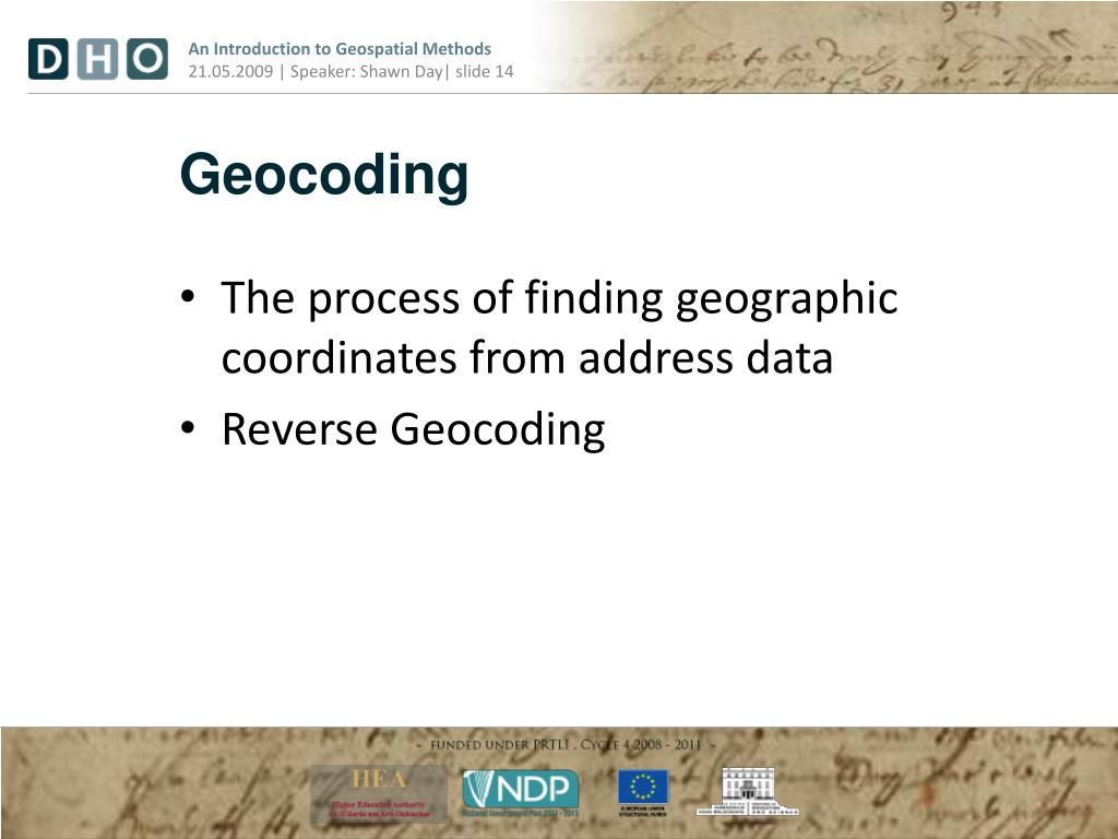 PPT - Introduction to Geospatial Methods for e-Humanities