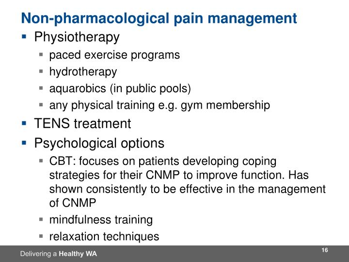 Non-pharmacological pain management