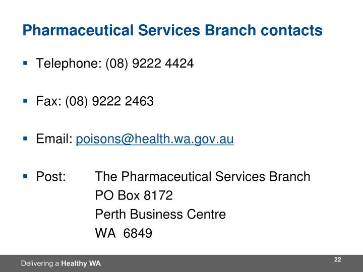 Pharmaceutical Services Branch contacts