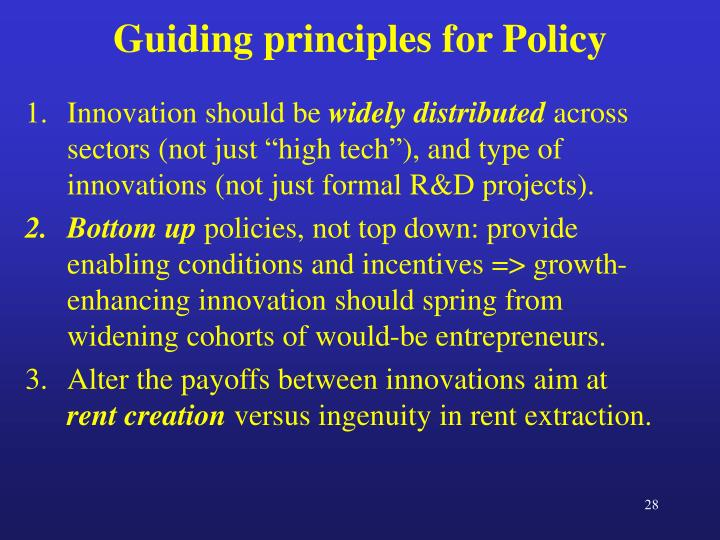 Guiding principles for Policy