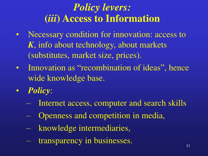 Policy levers: