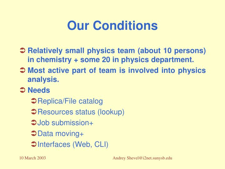 Our conditions