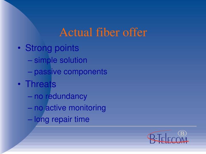 Actual fiber offer