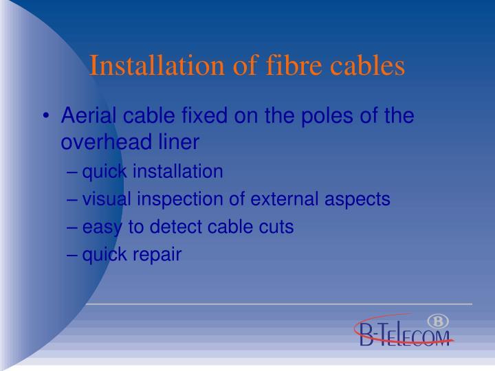 Installation of fibre cables
