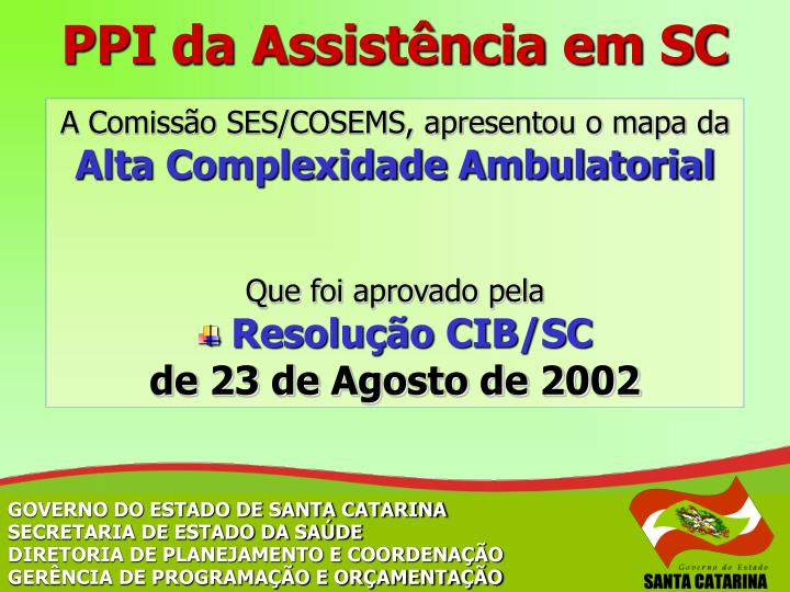 PPI da Assistência em SC