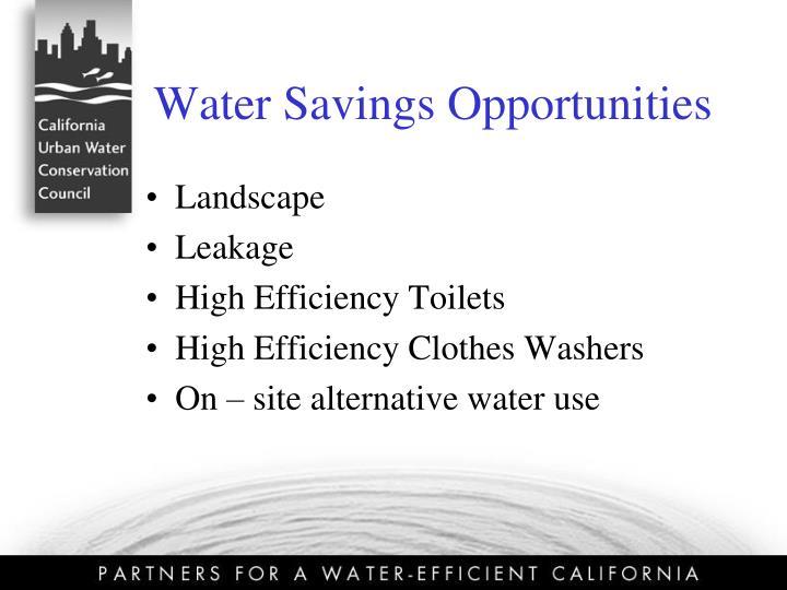 Water Savings Opportunities