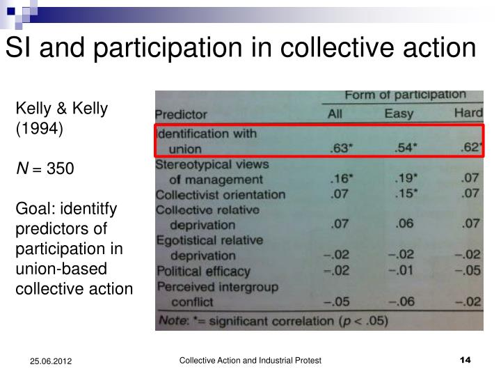 SI and participation in collective action