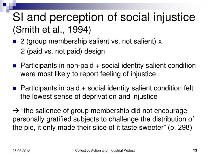 SI and perception of social injustice