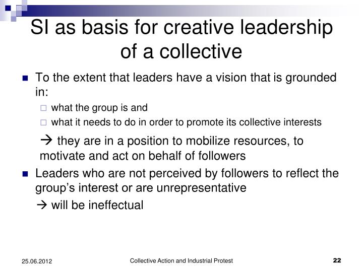 SI as basis for creative leadership of a collective