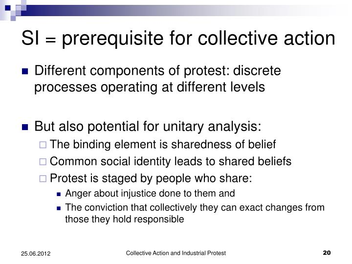 SI = prerequisite for collective action