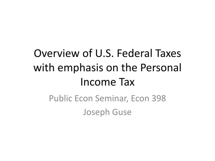 an overview of the american tax system