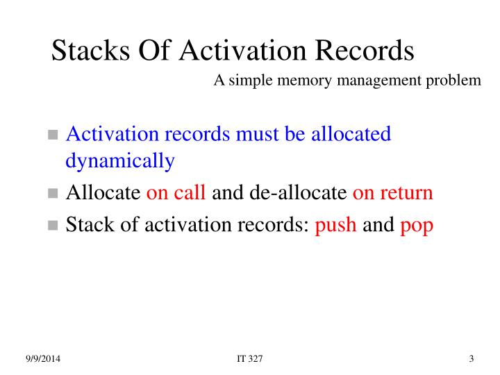 Stacks of activation records