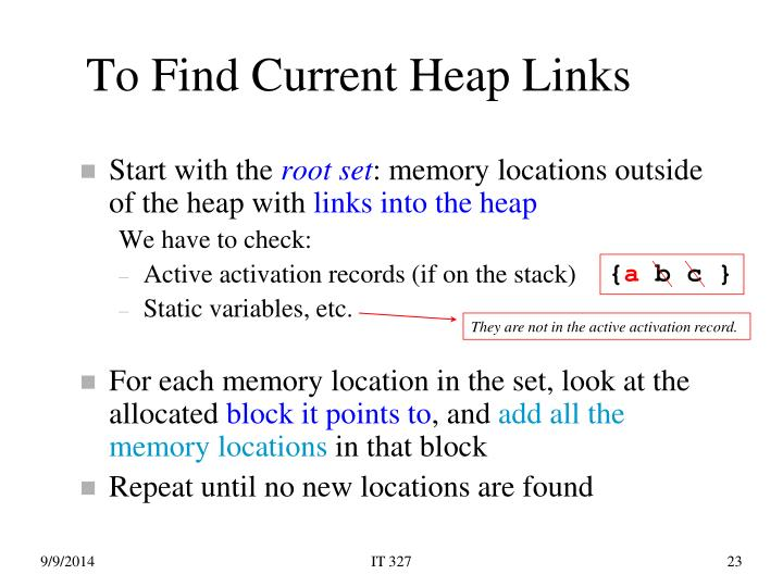 To Find Current Heap Links