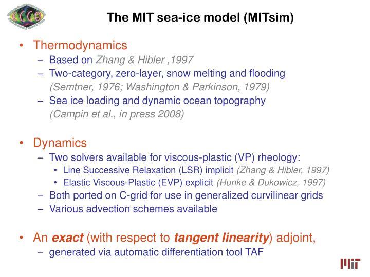 The mit sea ice model mitsim
