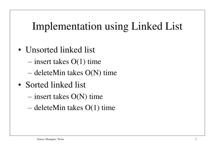 Implementation using linked list