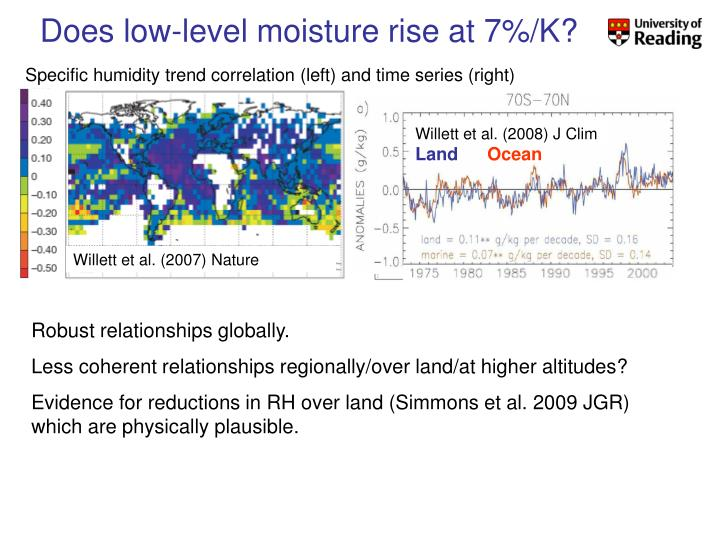 Does low-level moisture rise at 7%/K?